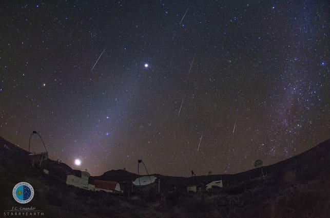 Espectacular noche de 'lluvia' de Gemínidas en El Roque de Los Muchachos