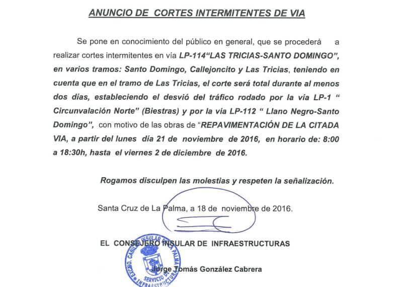 El Cabildo de La Palma repavimenta varios tramos de la carretera Las Tricias – Santo Domingo, en Garafía