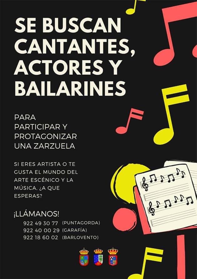Barlovento, Garafía y Puntagorda buscan interpretes para crear una zarzuela.