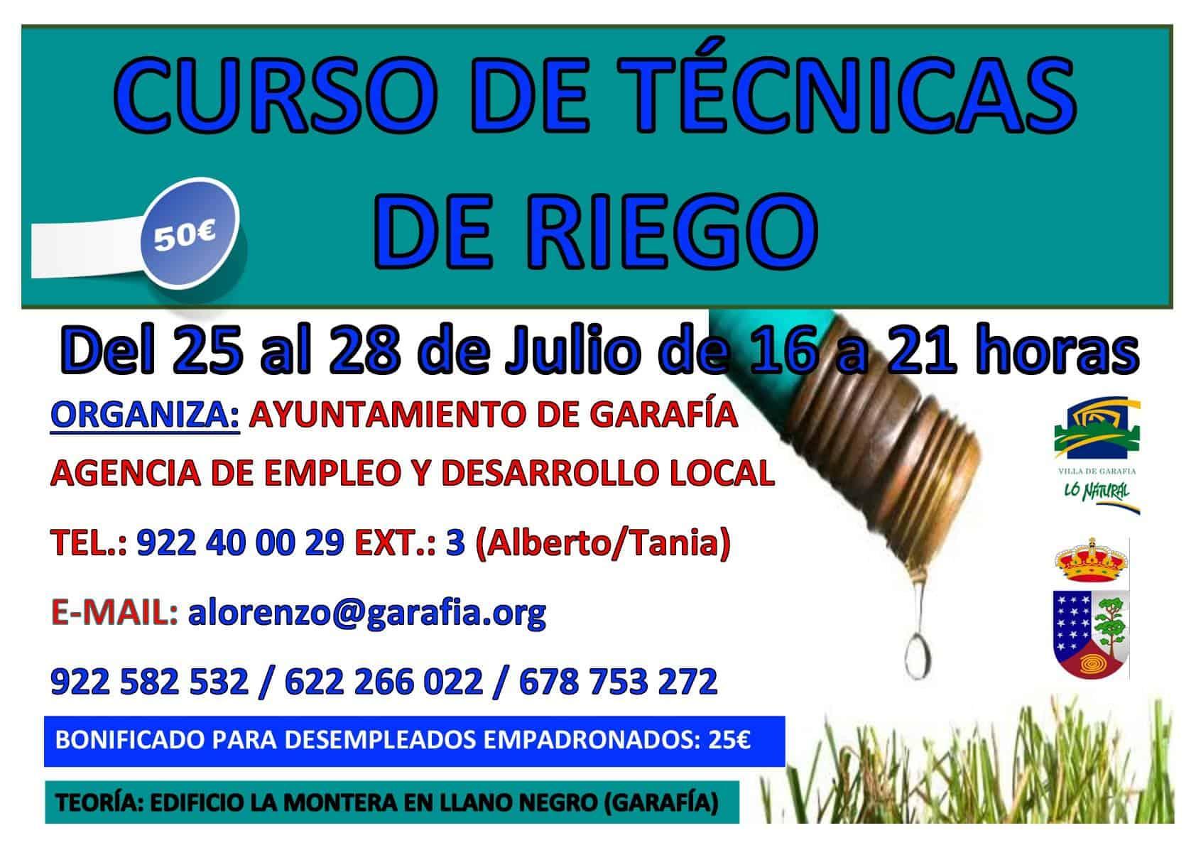 Curso de Técnicas de Riego | Del 25 al 28 de julio