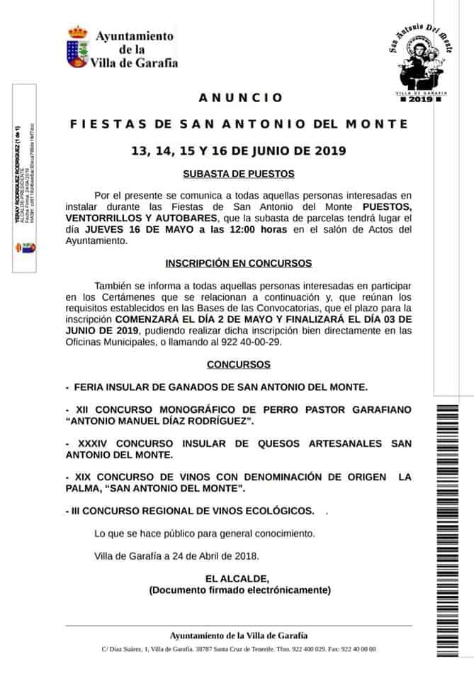 Anuncio Fiestas de San Antonio del Monte 2019