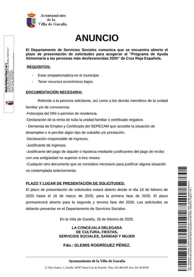 «Programa de Ayudas Alimentaria» de Cruz Roja.