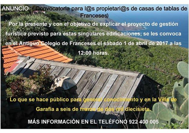 Convocatoria para los/las propietarios/as de casas de tablas en el barrio de Franceses